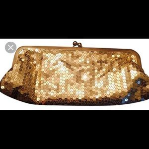 ANN TAYLOR Gold Sequined Clutch NWOT